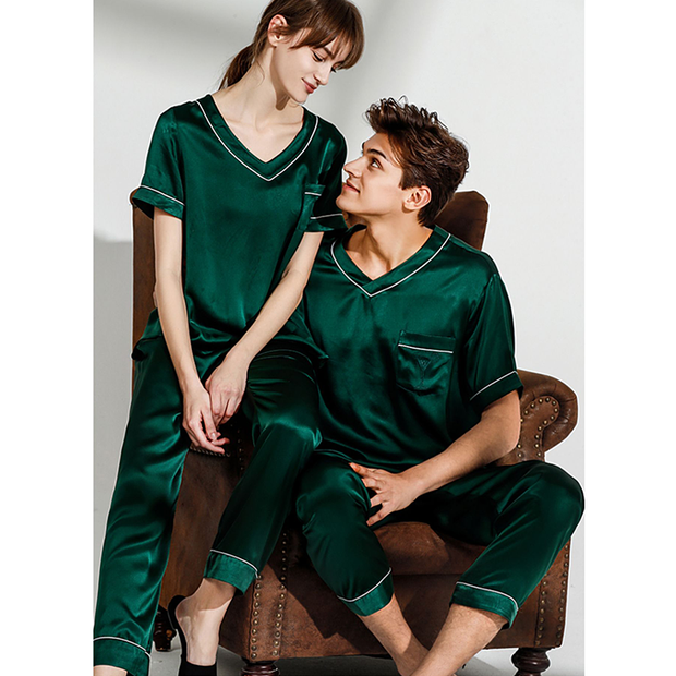 19 Momme Life Style Silk Long Pajamas Set For Couple、REAL SILK LIFE