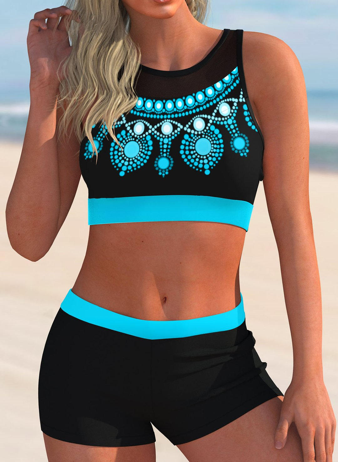 Sky Blue Women's Bikinis Mid Waist Color Block Tribal Mesh Padded Sleeveless Unadjustable Wire-free Round Neck Casual Beach Bikinis LC431456-4
