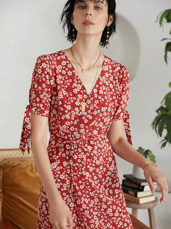 Red Flora Scattered Silk Dress、Real Silk Life