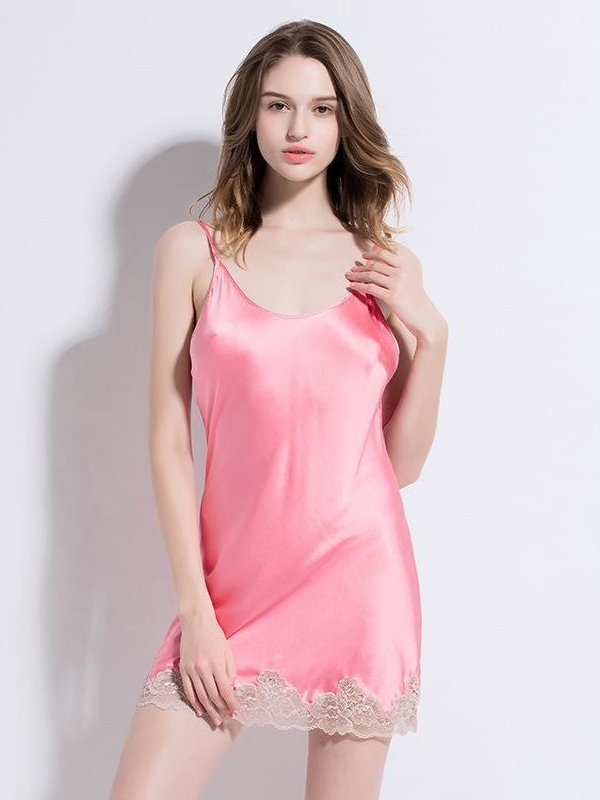 19 Momme Bling Pink Short Silk Nihgtgown、Real Silk Life