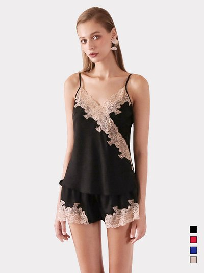 19 Momme Women's Sexy Lacey Silk Camisole Set、Real Silk Life