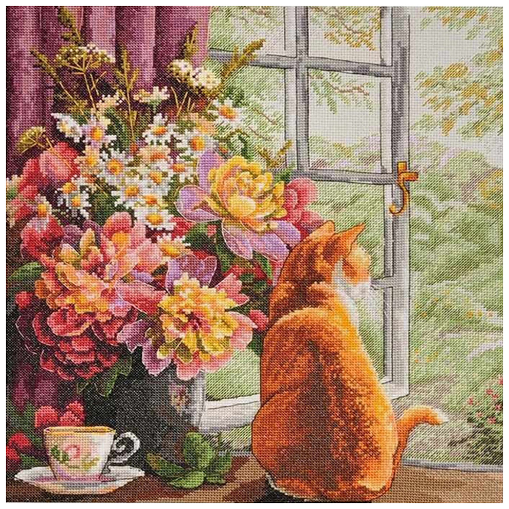 Flower and Cat - 11CT Stamped Cross Stitch - 60*60CM, 501 Original