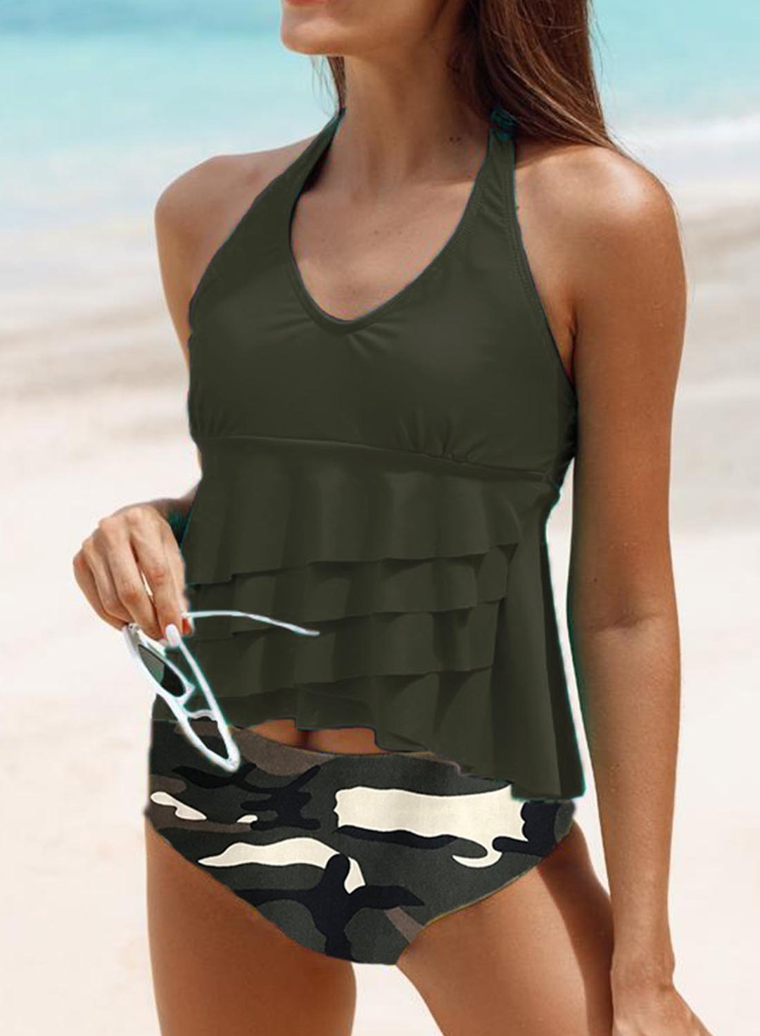 Green Women's Tankinis Camouflage Ruffled Backless Tankini LC414172-9