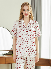 22 Momme Heart Printed Silk Pajamas Set、Real Silk Life