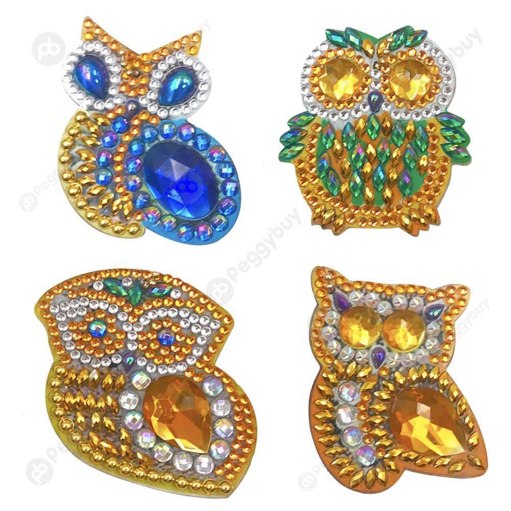 Peggybuy coupon: 4pcs Owls-DIY Creative Diamond Keychain