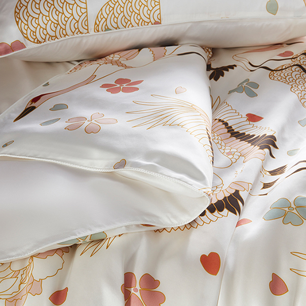 19 Momme Oriental Crane Printed Silk Duvet Cover Set | 4pcs、Real Silk Life