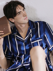 High Quality Blue Stripes Short Silk Pajamas For Men、Real Silk Life