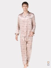 19 Momme Letter Printed Long Silk Pajamas Set | Two Colors Selected、Real Silk Life