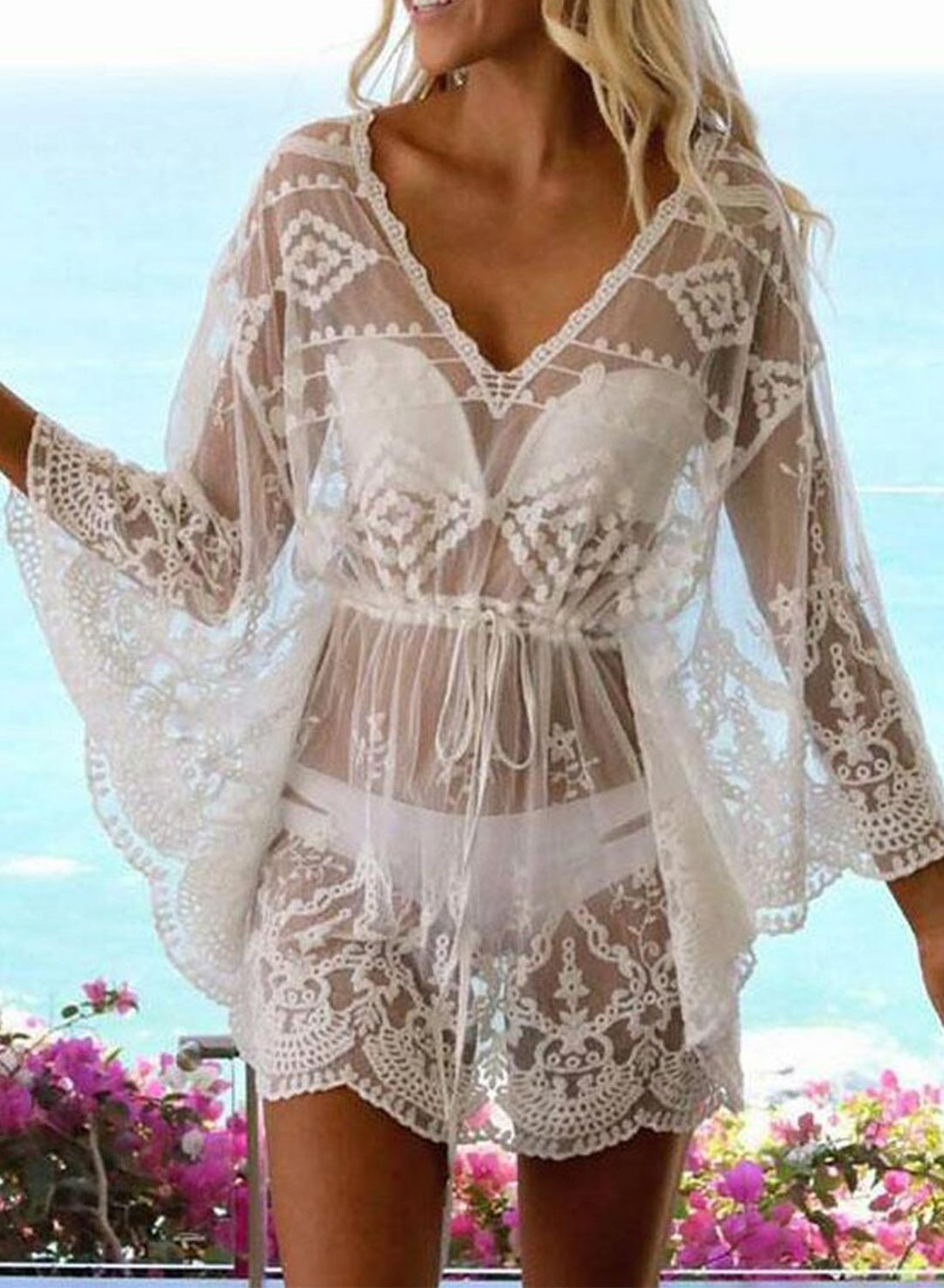 White Women's Mini Dress Solid Lace Fit & Flare V Neck Long Sleeve Vacation Beach Sexy Mini Dress LC42603-1