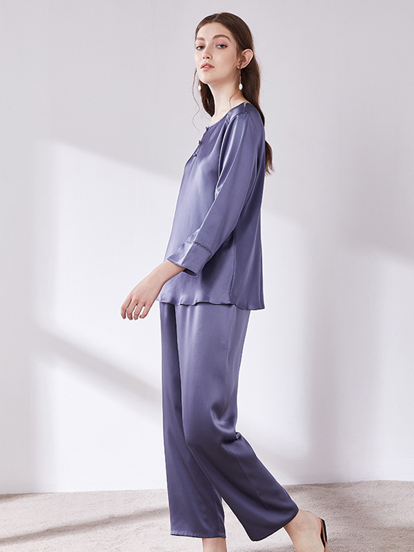 Casual Long Pure Color Silk Pajamas Set、Real Silk Life