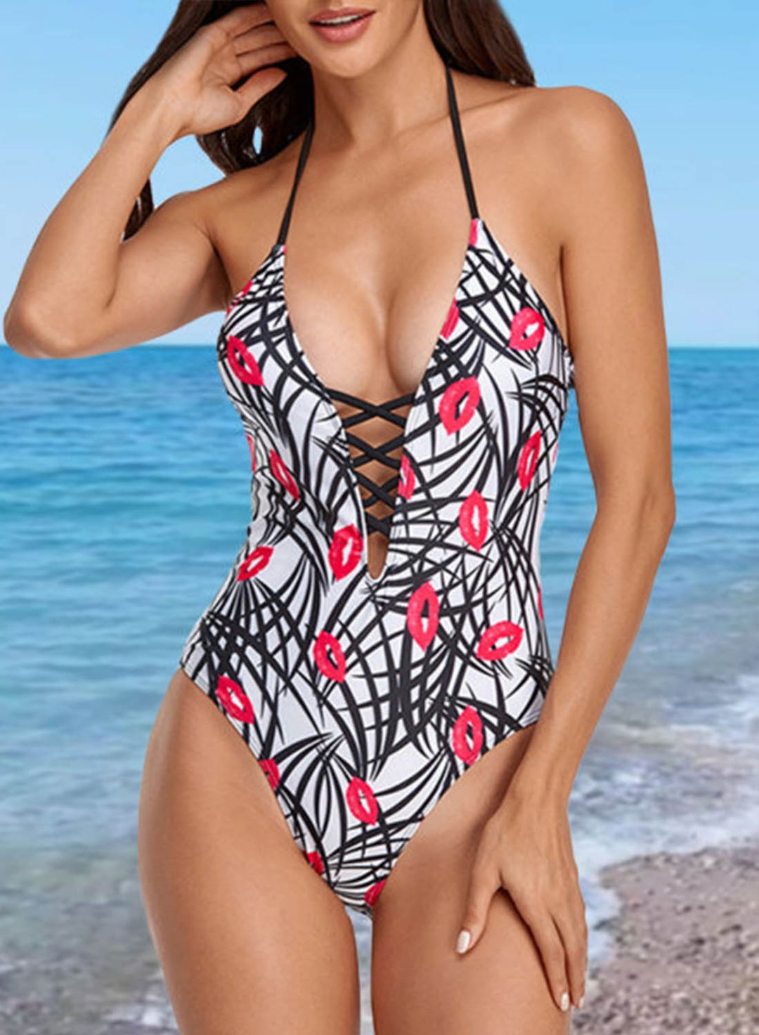 White Women's Swimsuits Leopard Color Block Halter Sleeveless Adjustable Wire-free Padded Twisted Casual One-piece Suit LC44632-1