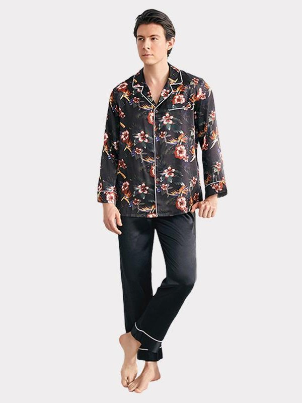 22 Momme Black Flower Printed Silk Pajamas For Men、Real Silk Life