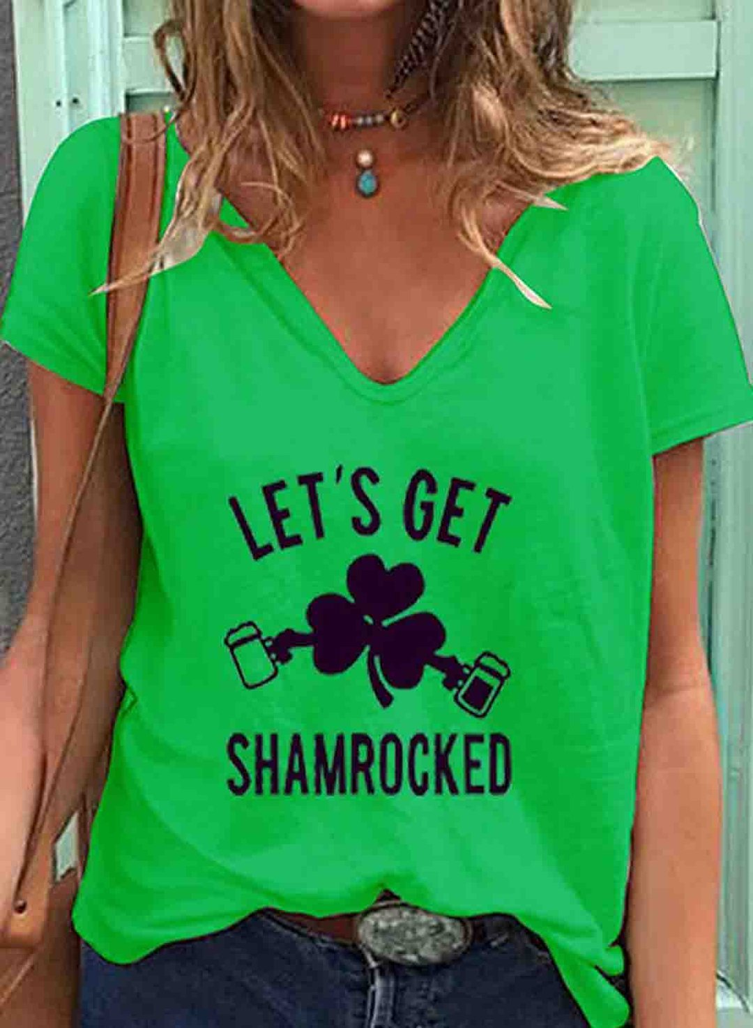 Green Women's T-shirts Clover Letter Print Short Sleeve V Neck Daily T-shirt LC2524763-9