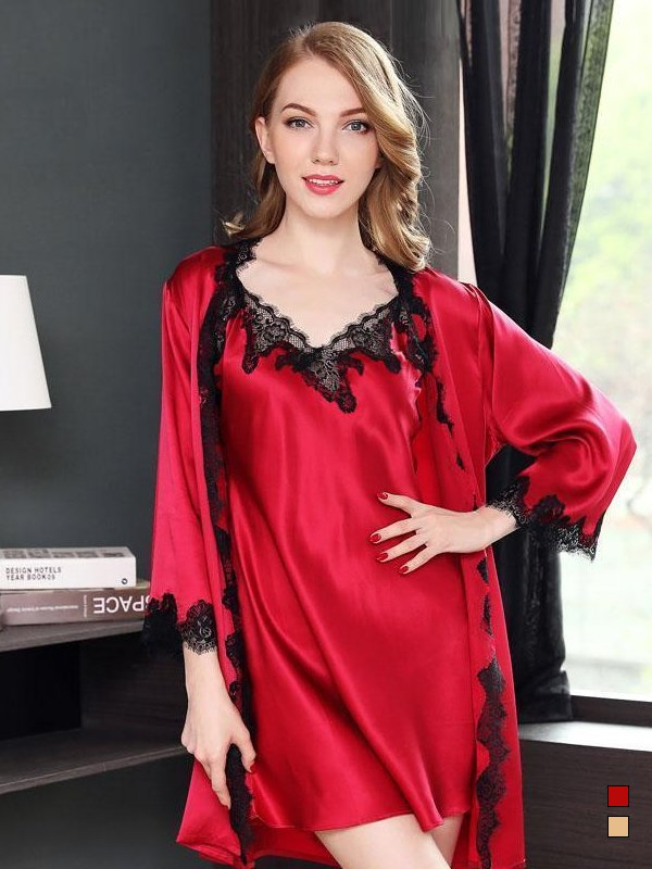 25 Momme Luxury Women's Classic Sexy Lacey Silk Robe Set-Two Pieces、Real Silk Life
