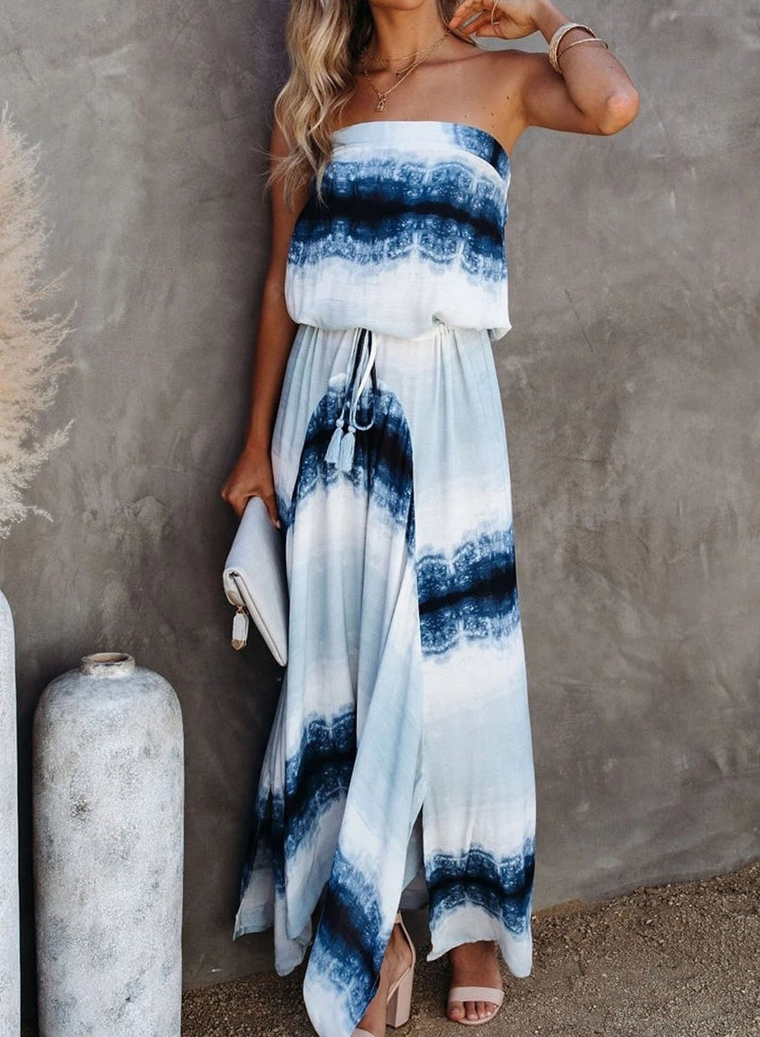 Blue Women's Maxi Dresses Tiedye Sleeveless Off Shoulder Fit & Flare Drawstring Casual Maxi Dress LC614340-5