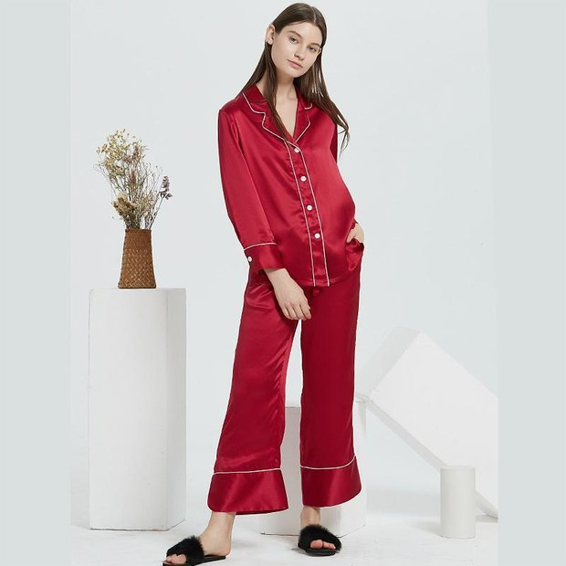 22 Momme High Quality French Design Classic Long Silk Pajamas Set | Multi-Colors Selected、Real Silk Life