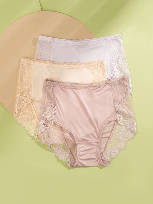 High-waist Silk Panty With Lace Trim 3 Pack、Real Silk Life