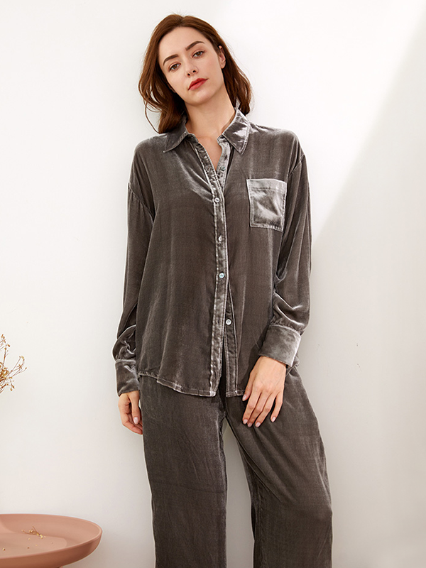 Casual Long Shirt Collar Silk Velvet Pajamas Set For Women、Real Silk Life