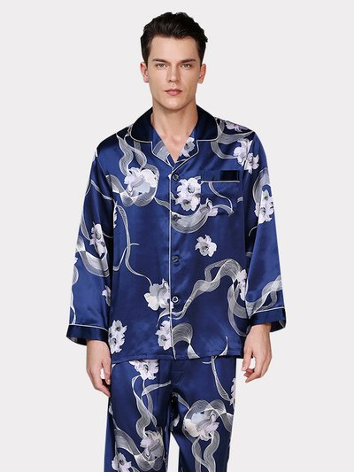 22 Momme High Quality Blue Folower Printed Pajamas Set For Men、Real Silk Life
