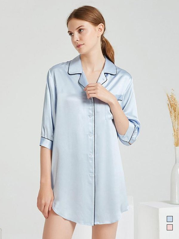 19 Momme Luxury Sexy Long Sleeve Silk Nightgown | Multi-Colors Selected、Real Silk Life