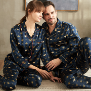 22 Momme Honey Printed Long Sleeves Classic Silk Pajamas Set For Couple、REAL SILK LIFE