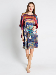 19 Momme Lotus Dusk Printed Loose Silk Nightgown、Real Silk Life