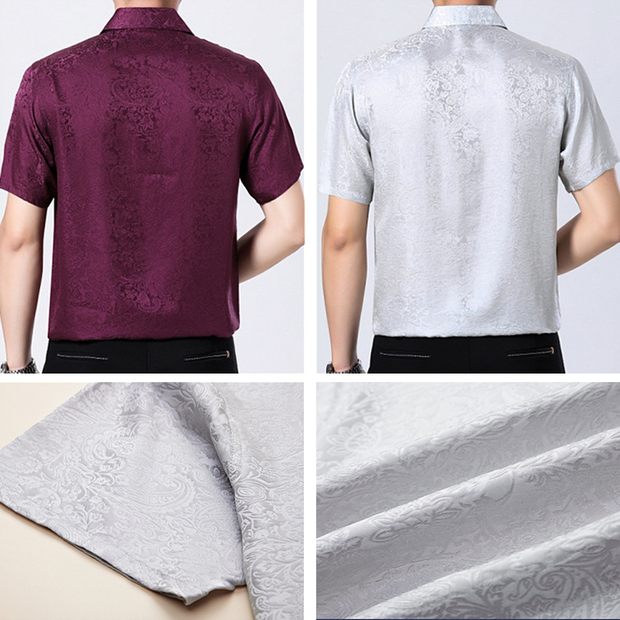 Mens Snug Jacquard Silk Shirt With Pocket 、Real Silk Life