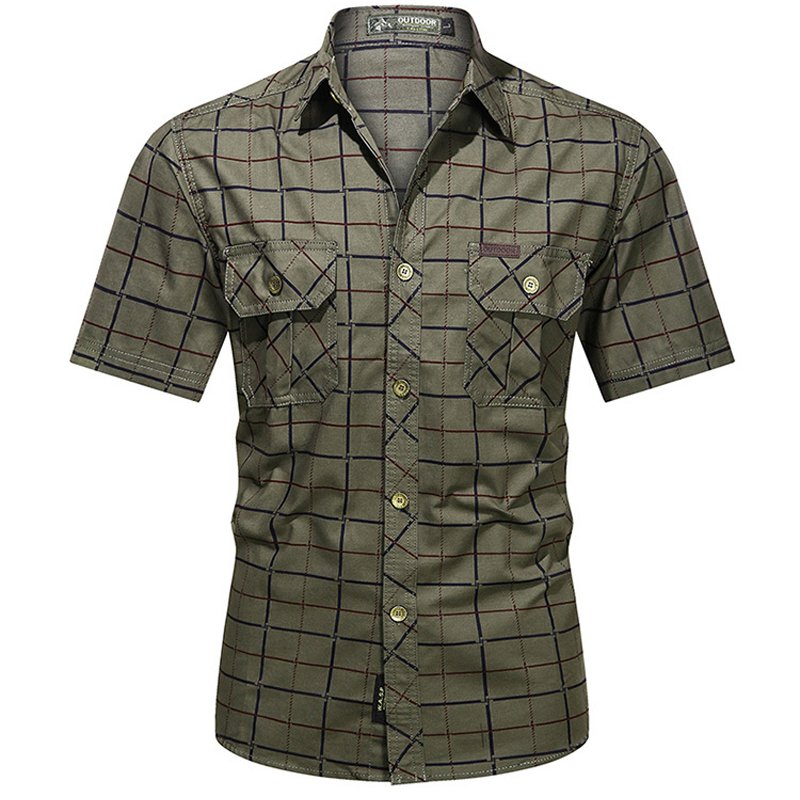 Men's outdoor casual cotton plaid short-sleeved shirt / [viawink] /