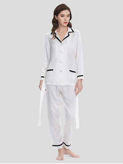 22 Momme Women's Elegant Silk Pajamas Set White、Real Silk Life