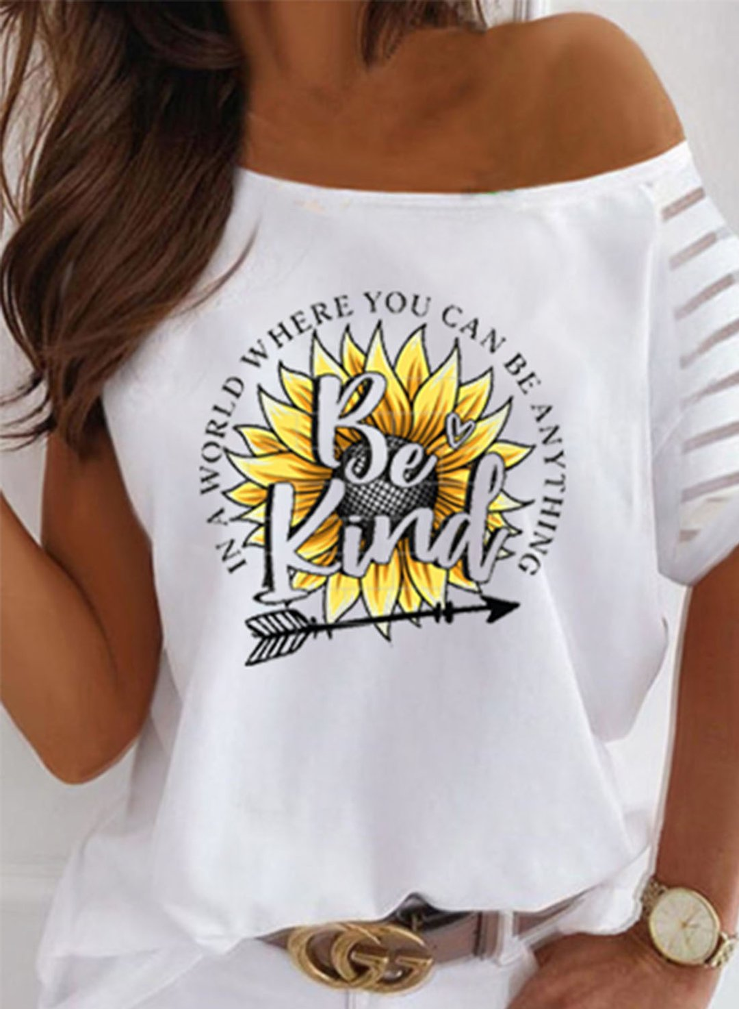 White Women's T-shirts Sunflower Letter Slogan Print T-shirt LC2526793-1
