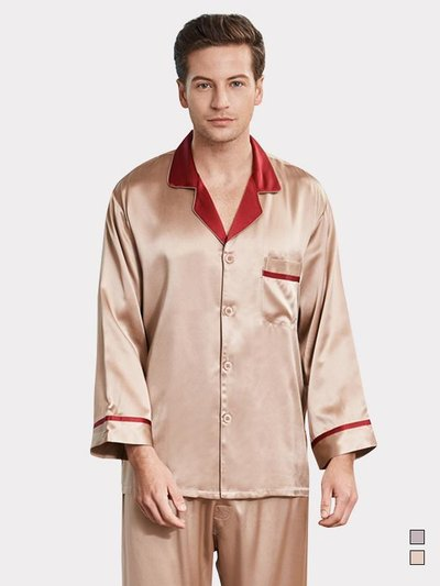 22 Momme High Quality Contrast Color Silk Pajamas For Men、Real Silk Life