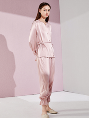 Classic V Neck Silk Pajamas Set With Laced、Real Silk Life