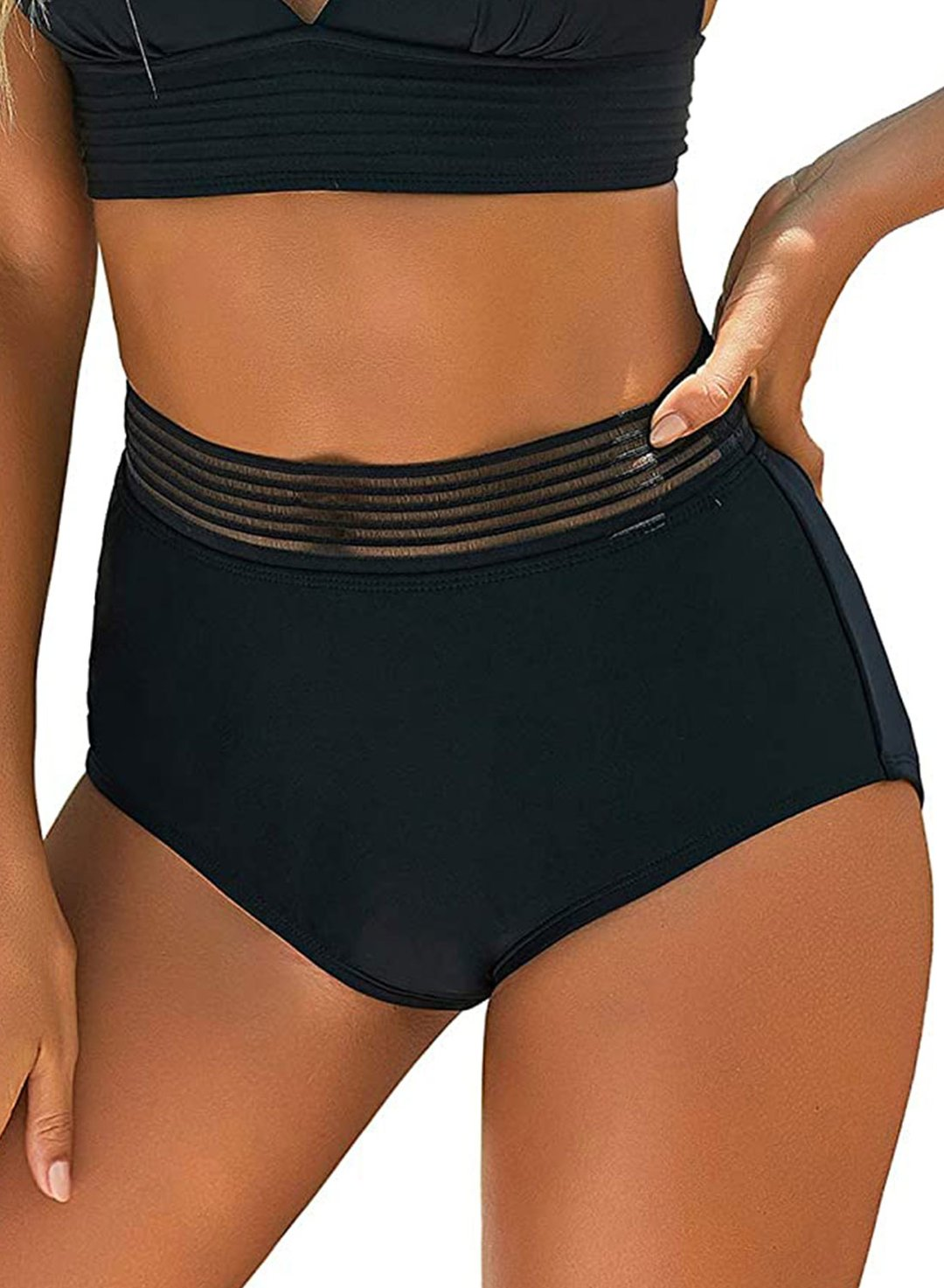 Black Women's Swim Bottoms High Waisted Ruched Bottoms LC472100-2