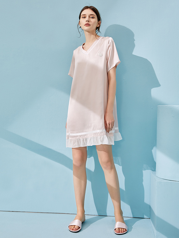 V Neck Wide Mid Length Silk Nightgown、Real Silk Life
