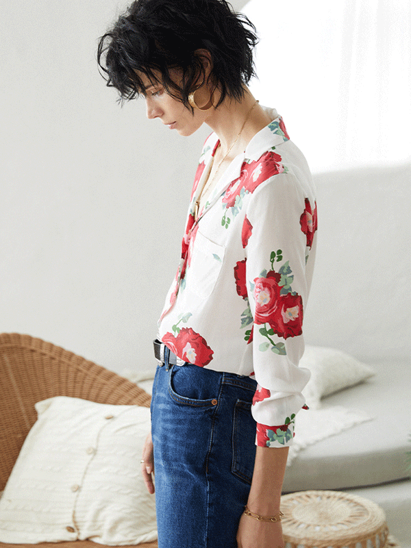 Classic French Design Silk Shirt、Real Silk Life