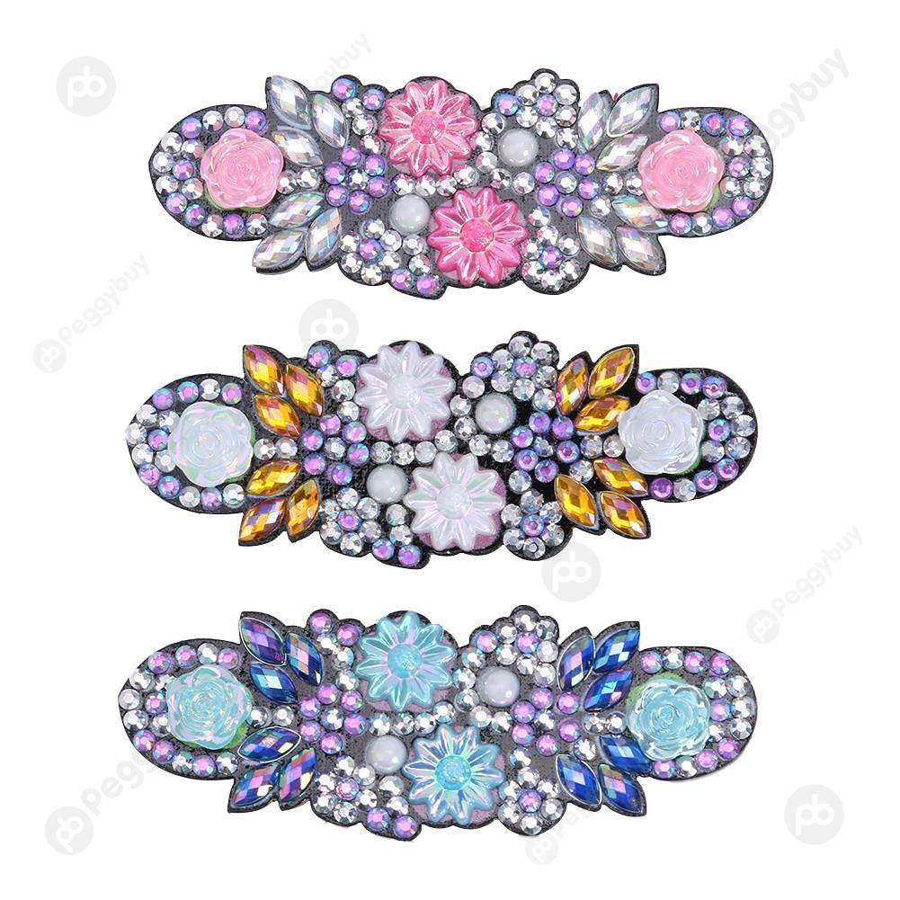 Peggybuy coupon: 3pcs Flower Barrette Hairpin-DIY Creative Diamond Fashion Accessories