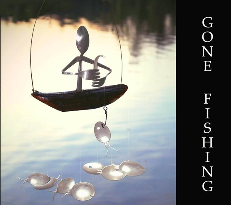 Fisherman And Spoon Fish Wind Chime  Holiday Garden Art image 0