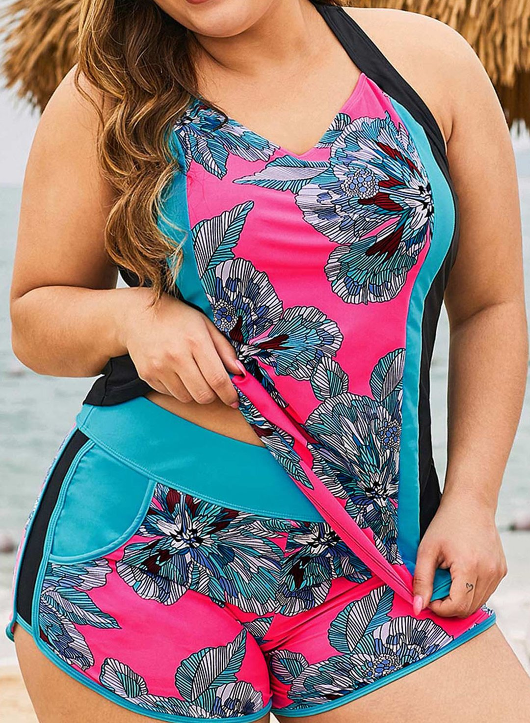 Pink Women's Tankinis Floral Color Block Criss Cross Open-back Plus Size Tankinis LC412889-10