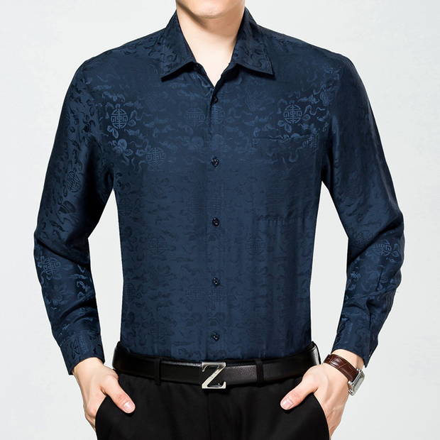 Jacquard Long Sleeves Silk Shirt| Multi-Colors Selected、Real Silk Life