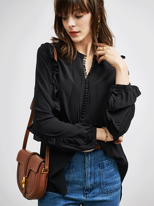 Loose Black Silk Blouse、Real Silk Life