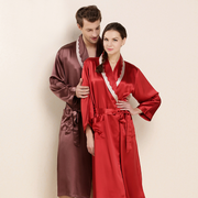 Monogrammed 22 Momme Silk Long Robe For Couple、Real Silk Life