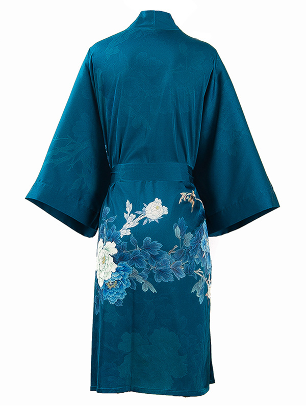 19 Momme Blue Traditional Kimono Floral Style Loose Silk Robes、Real Silk Life