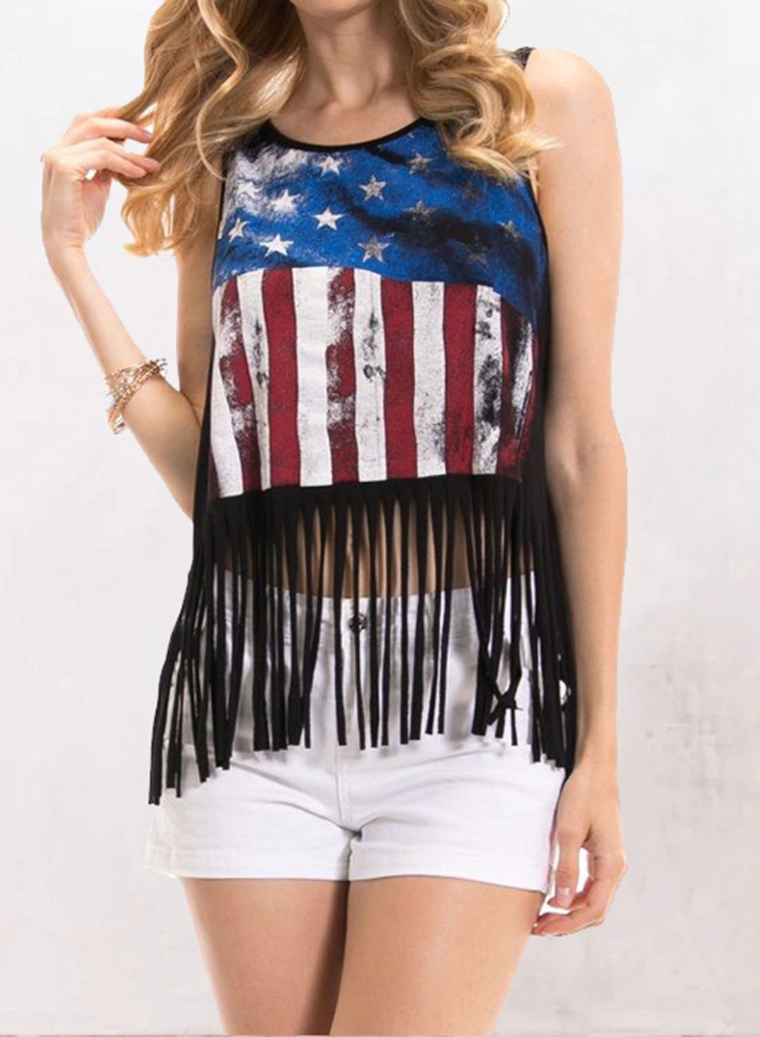 Black Women's Tank Tops Fringed Hem Flag Print  Top LC2561943-2