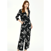 Posh Printed Silk Blouse And Trousers Set、Real Silk Life