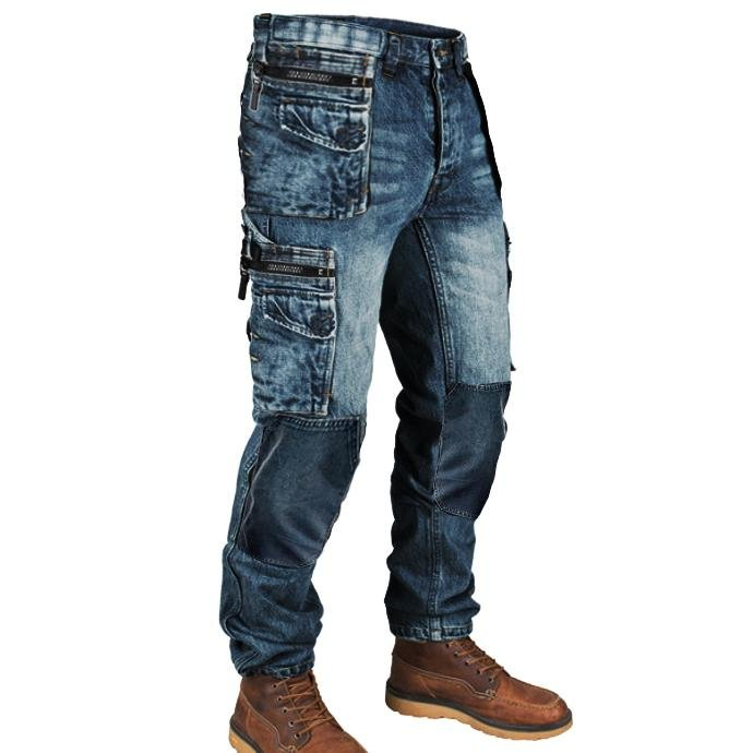 Retro Mens Multi Pocket Outdoor Casual Jeans / [viawink] /