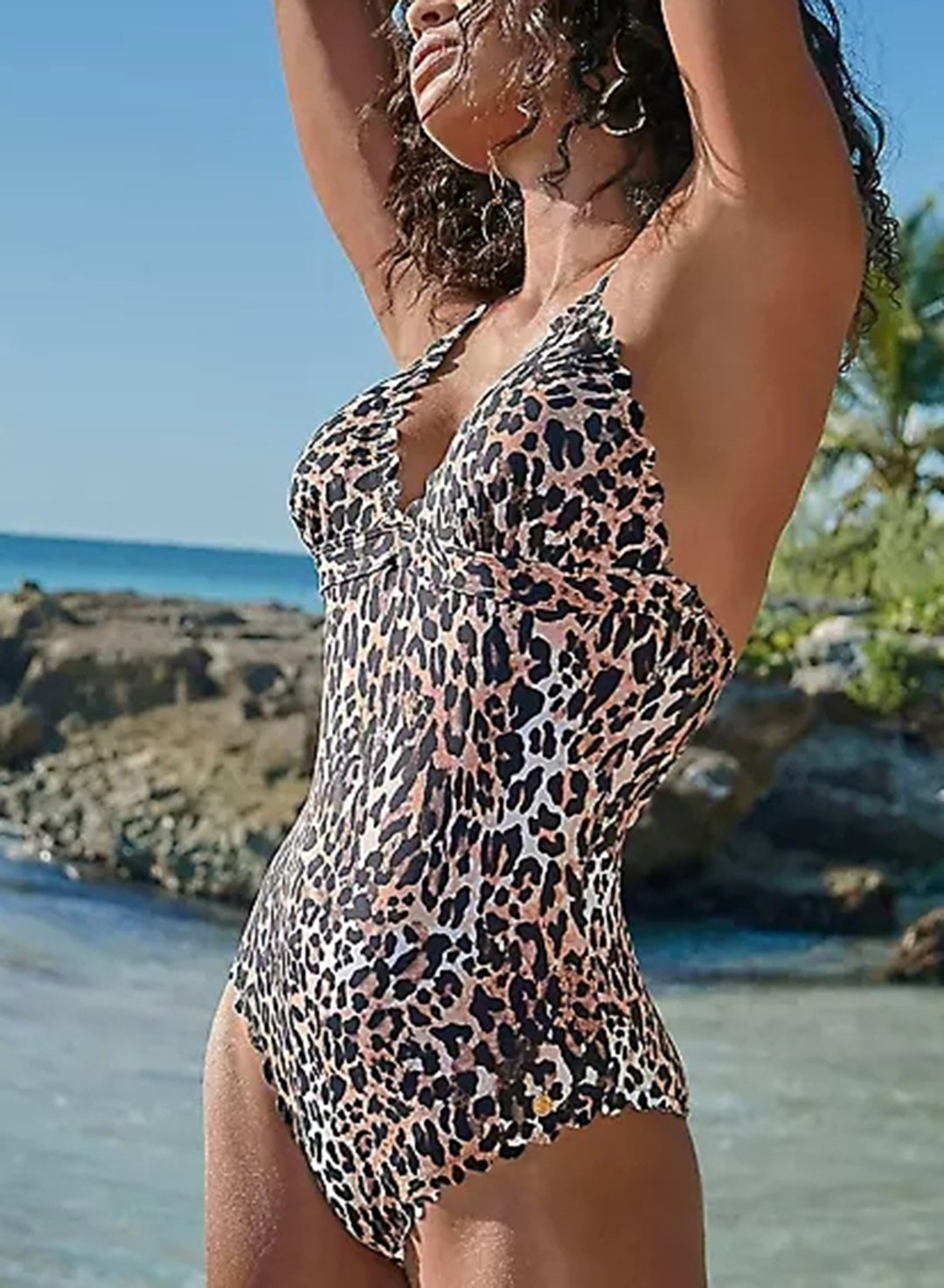 Leopard Women's Swimsuits Leopard Padded Spaghetti Halter Sleeveless Adjustable Wire-free Knot Sexy One-piece Suit LC44794-20