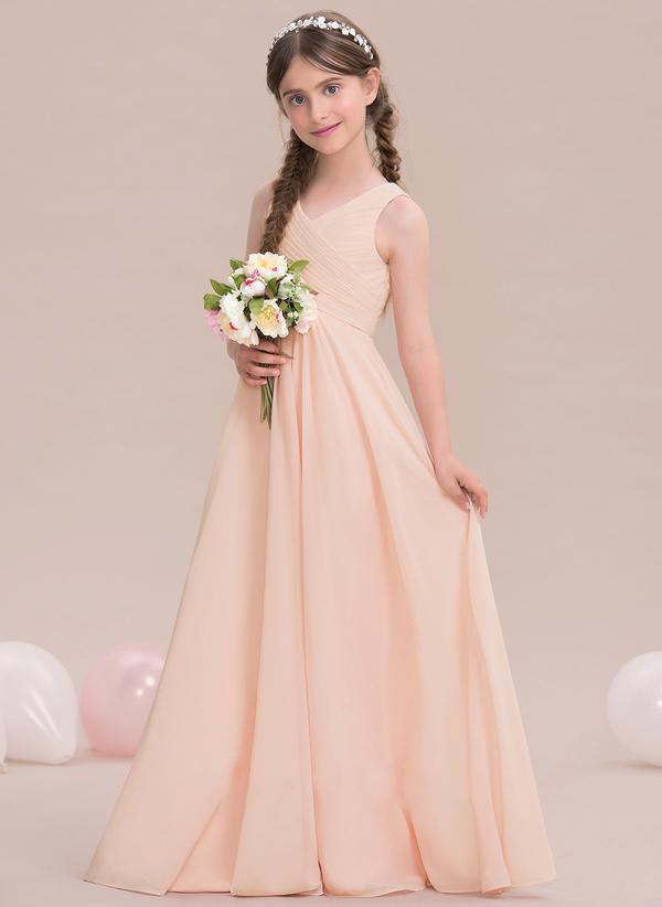 Flower Girls Chiffon Dress V-Neck Wedding Bridesmaid Dress Princess Party Gown