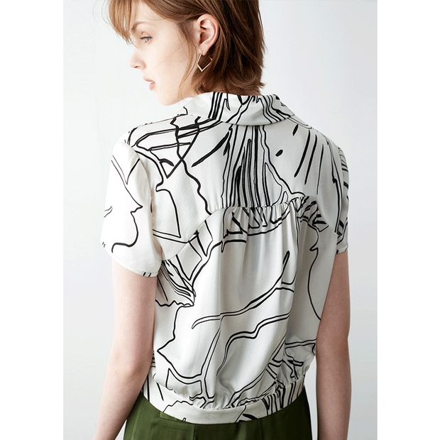 Fashionate Marble Curve Silk Blouse、Real Silk Life