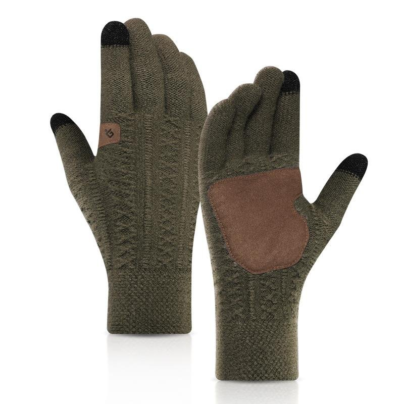 Winter knitted and velvet warm gloves / [viawink] /