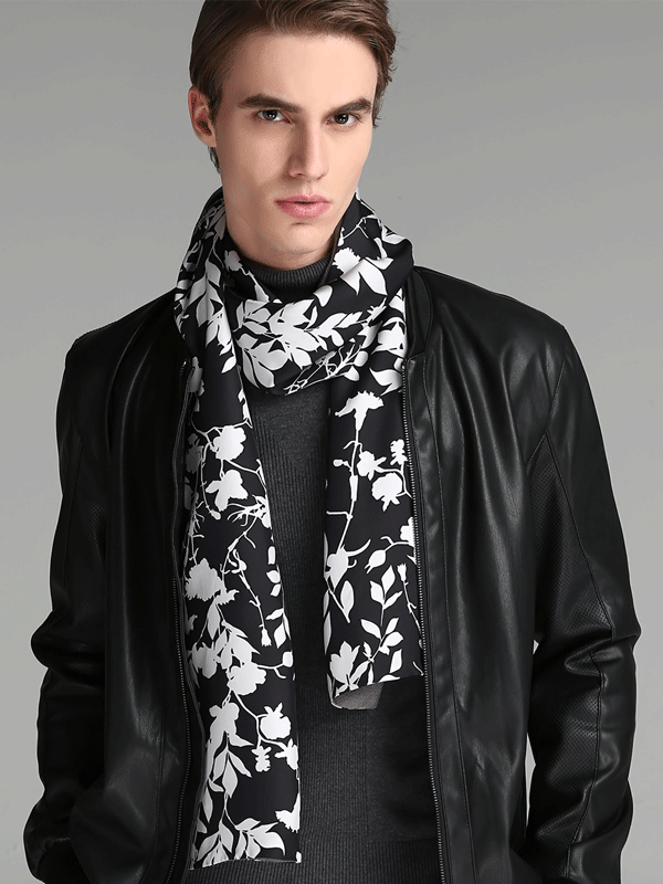 Black Silk Scarf 1033161081 For Men 30*180、REAL SILK LIFE